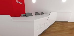 Clearcut reception desk