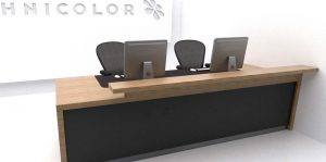 Technicolor reception desk