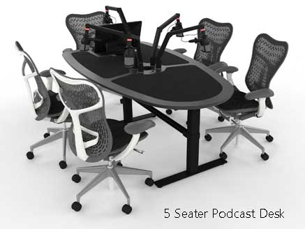 5 person podcast desk