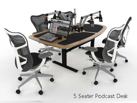 5 seater podcast desk